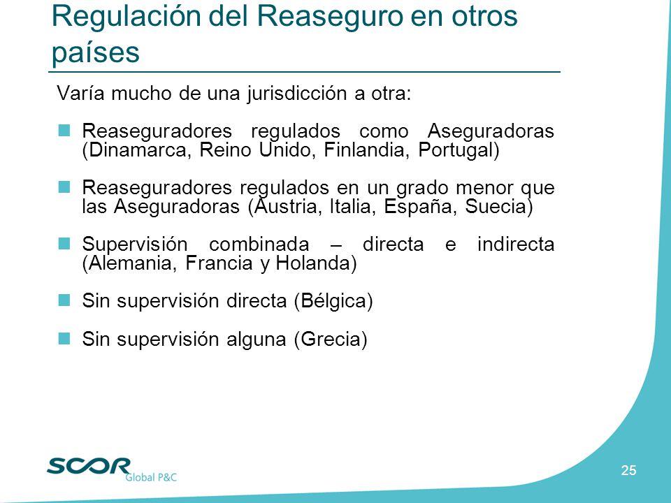 25 Varía mucho de una jurisdicción a otra: Reaseguradores regulados como Aseguradoras (Dinamarca, Reino Unido, Finlandia, Portugal) Reaseguradores reg