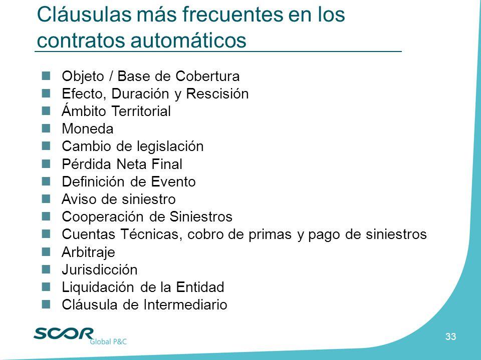 33 Cláusulas más frecuentes en los contratos automáticos Objeto / Base de Cobertura Efecto, Duración y Rescisión Ámbito Territorial Moneda Cambio de l