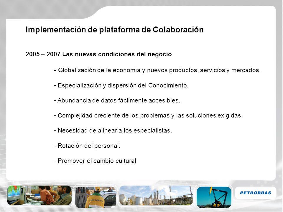 Implementación de plataforma de Colaboración 2005 – Implementación de Solución de Colaboración (Collab) - Collab (Vignette Business Collaboration System) - 3 meses de parametrización, implementación y capacitación a usuarios claves - Creación de Comunidades alineadas al Mapa de Conocimientos de E&P.