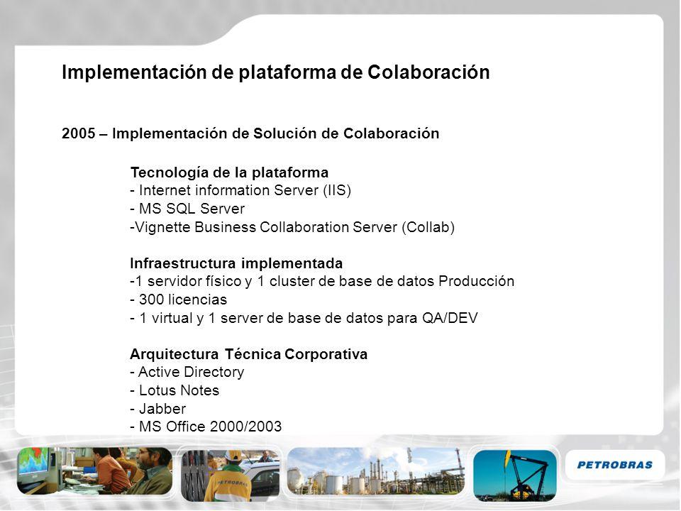 Implementación de plataforma de Colaboración 2005 – Implementación de Solución de Colaboración Tecnología de la plataforma - Internet information Serv