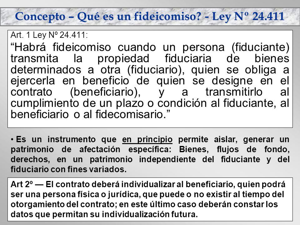 Concepto – Qué es un fideicomiso? - Ley Nº 24.411 Art. 1 Ley Nº 24.411: Habrá fideicomiso cuando un persona (fiduciante) transmita la propiedad fiduci