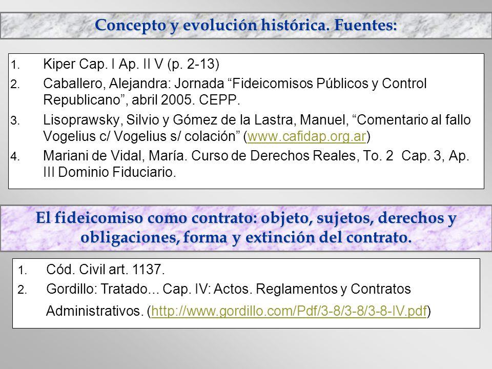 Concepto y evolución histórica. Fuentes: 1. Kiper Cap. I Ap. II V (p. 2-13) 2. Caballero, Alejandra: Jornada Fideicomisos Públicos y Control Republica