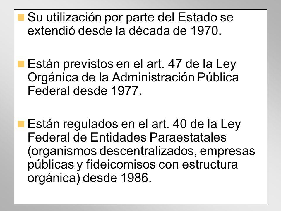 Su utilización por parte del Estado se extendió desde la década de 1970. Están previstos en el art. 47 de la Ley Orgánica de la Administración Pública