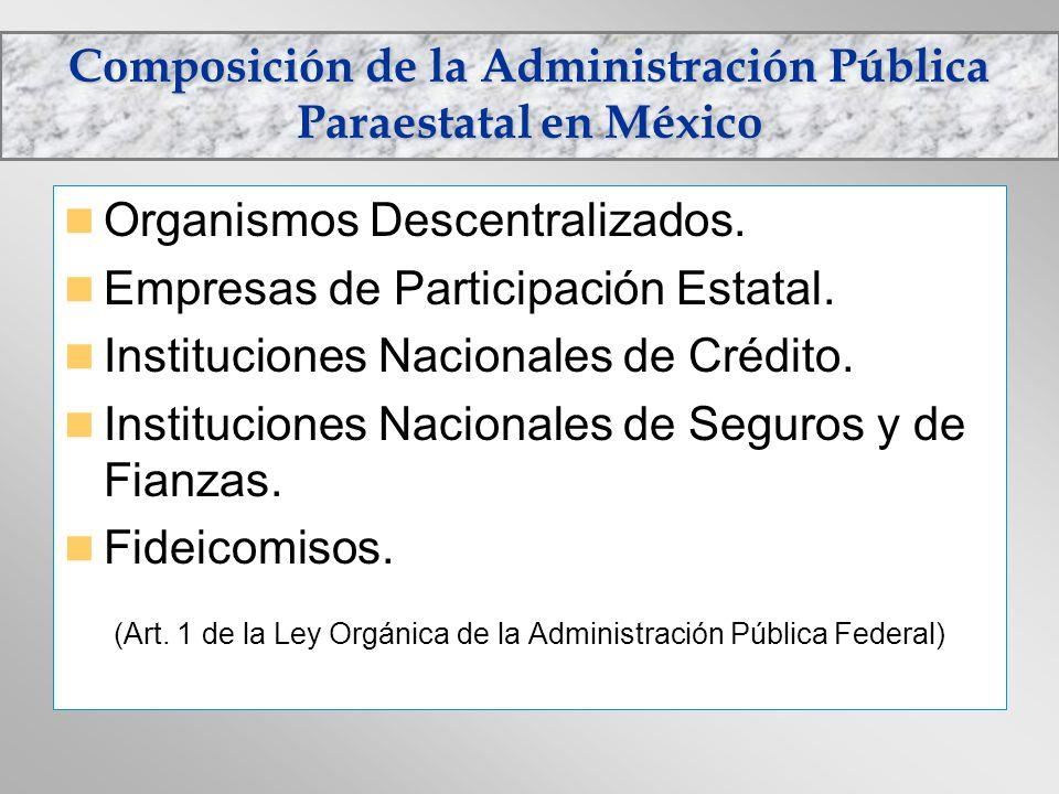 Composición de la Administración Pública Paraestatal en México Organismos Descentralizados. Empresas de Participación Estatal. Instituciones Nacionale