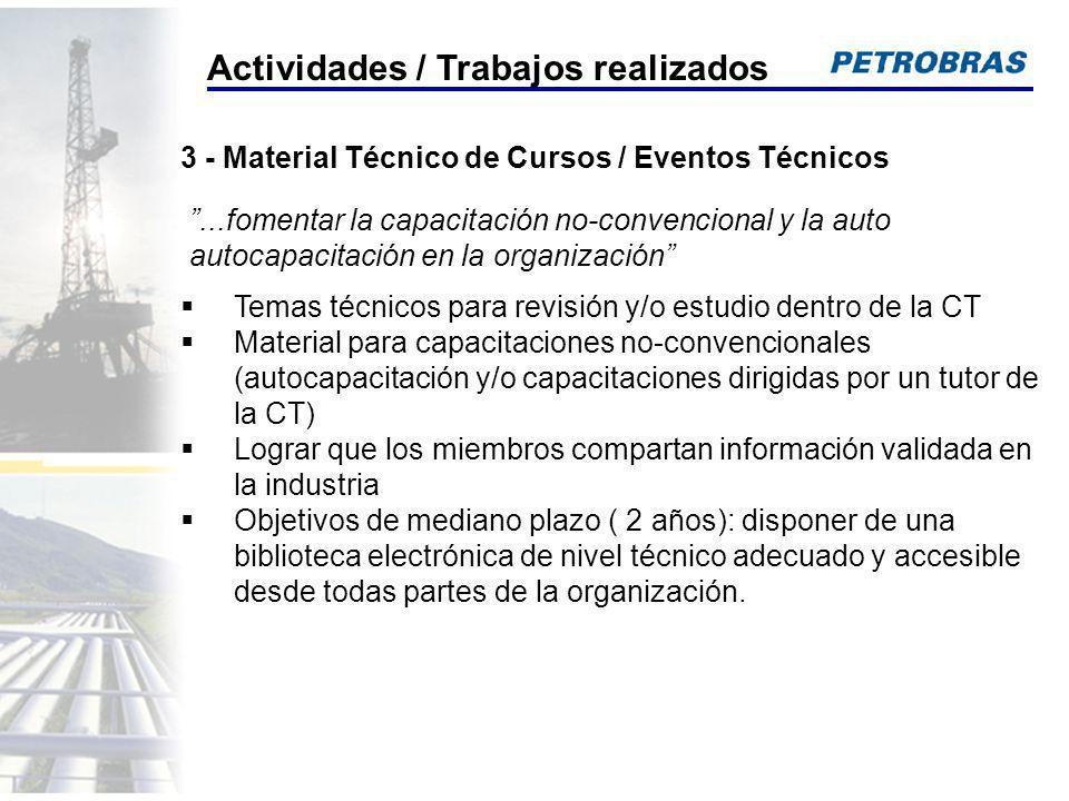 Temas técnicos para revisión y/o estudio dentro de la CT Material para capacitaciones no-convencionales (autocapacitación y/o capacitaciones dirigidas