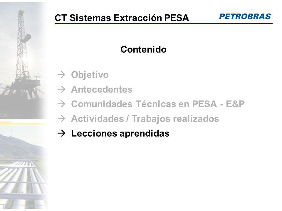 Contenido Objetivo Antecedentes Comunidades Técnicas en PESA - E&P Actividades / Trabajos realizados Lecciones aprendidas CT Sistemas Extracción PESA