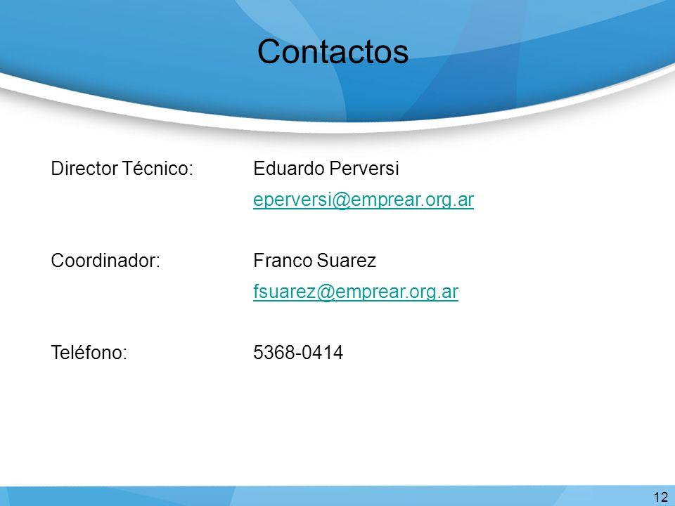 Contactos 12 Director Técnico:Eduardo Perversi eperversi@emprear.org.ar Coordinador:Franco Suarez fsuarez@emprear.org.ar Teléfono: 5368-0414