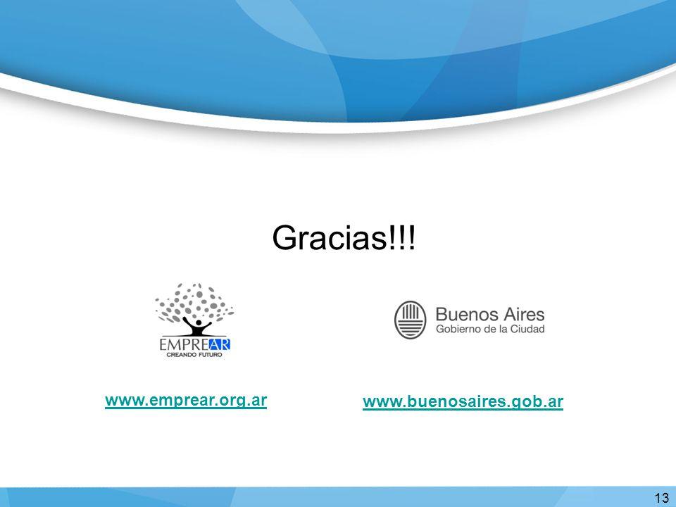Gracias!!! 13 www.buenosaires.gob.ar www.emprear.org.ar