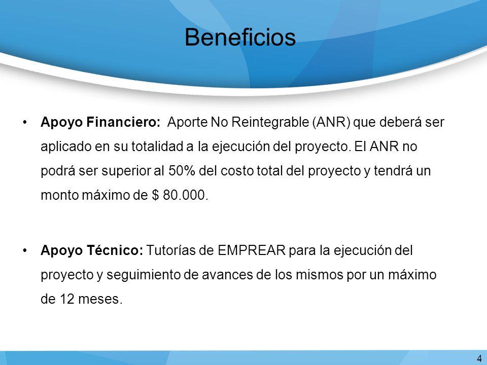 Beneficios Apoyo Financiero: Aporte No Reintegrable (ANR) que deberá ser aplicado en su totalidad a la ejecución del proyecto.