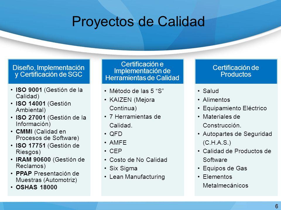 Proyectos de Calidad 6 Diseño, Implementación y Certificación de SGC ISO 9001 (Gestión de la Calidad) ISO 14001 (Gestión Ambiental) ISO 27001 (Gestión de la Información) CMMI (Calidad en Procesos de Software) ISO 17751 (Gestión de Riesgos) IRAM 90600 (Gestión de Reclamos) PPAP Presentación de Muestras (Automotriz) OSHAS 18000 Certificación e Implementación de Herramientas de Calidad Método de las 5 S KAIZEN (Mejora Continua) 7 Herramientas de Calidad.