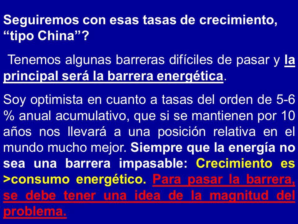 Seguiremos con esas tasas de crecimiento, tipo China.
