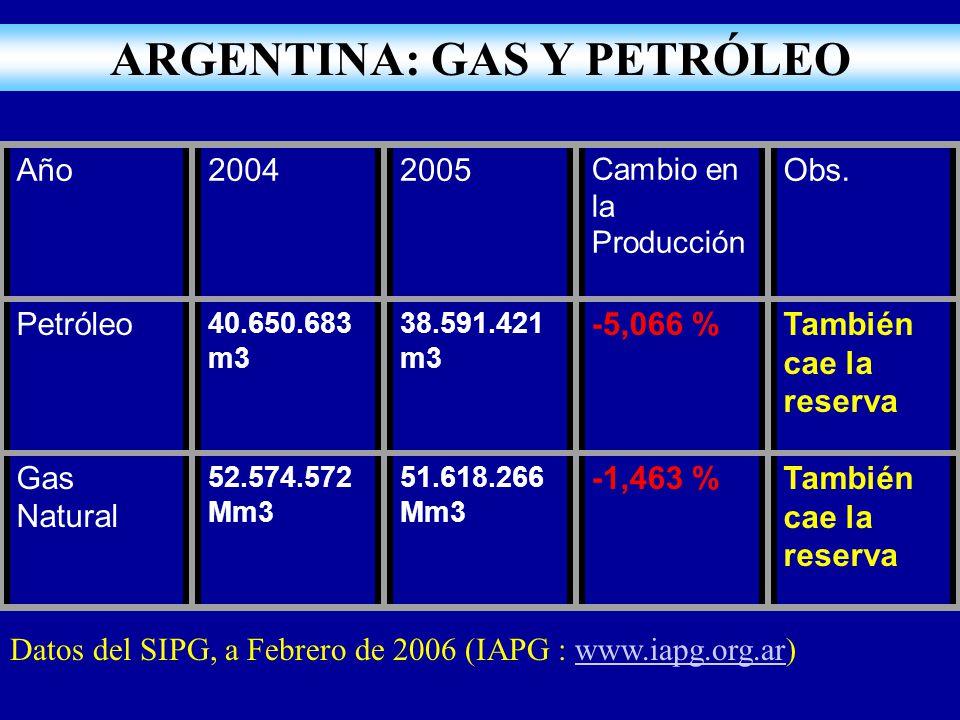 Año20042005 Cambio en la Producción Obs. Petróleo 40.650.683 m3 38.591.421 m3 -5,066 %También cae la reserva Gas Natural 52.574.572 Mm3 51.618.266 Mm3