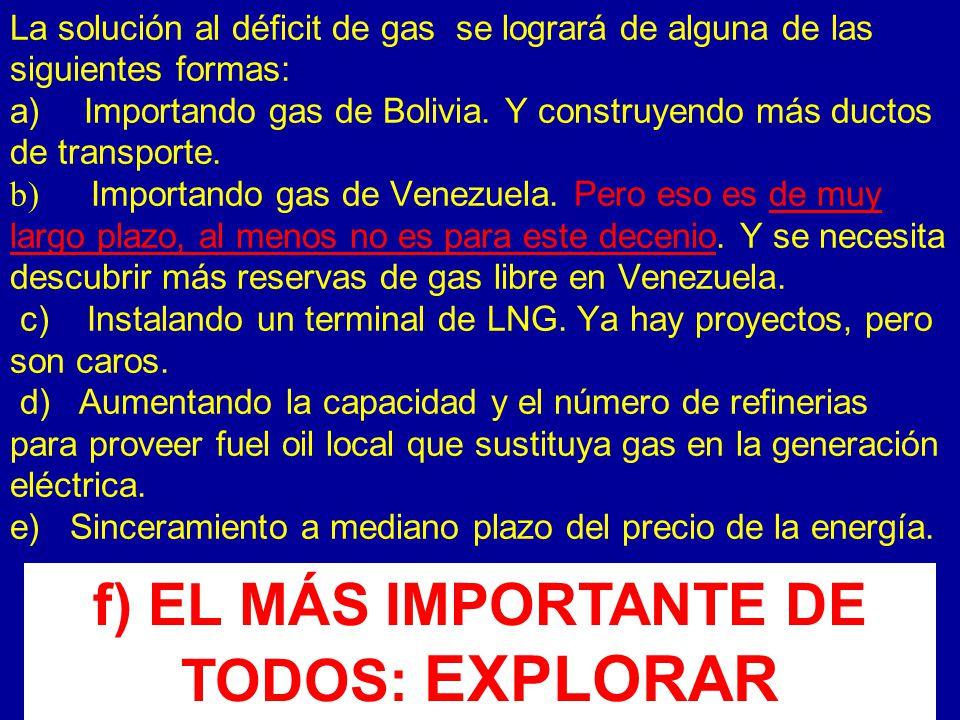 La solución al déficit de gas se logrará de alguna de las siguientes formas: a) Importando gas de Bolivia.