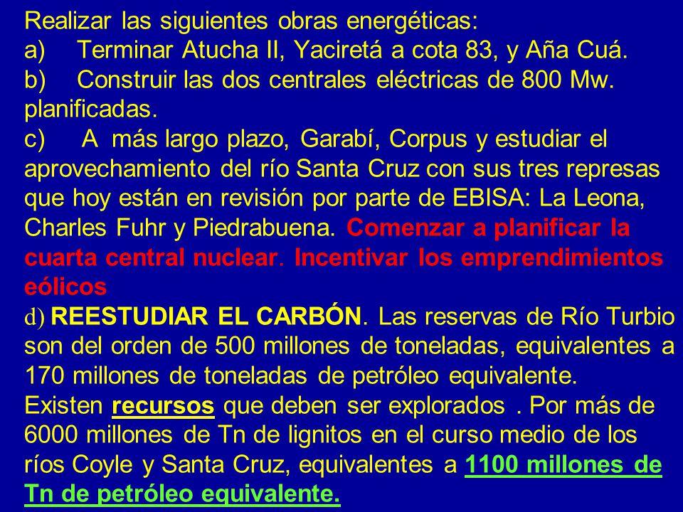 Realizar las siguientes obras energéticas: a) Terminar Atucha II, Yaciretá a cota 83, y Aña Cuá. b) Construir las dos centrales eléctricas de 800 Mw.