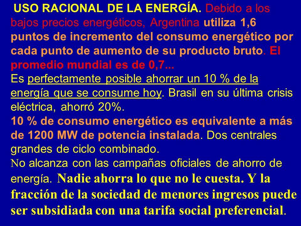 USO RACIONAL DE LA ENERGÍA. Debido a los bajos precios energéticos, Argentina utiliza 1,6 puntos de incremento del consumo energético por cada punto d