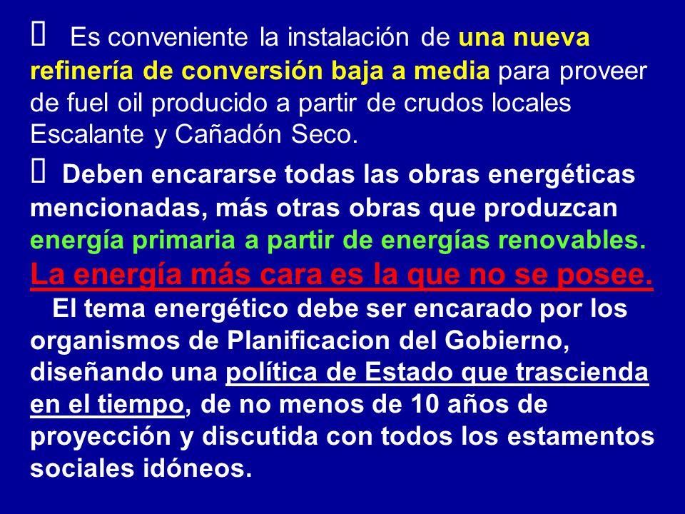 Es conveniente la instalación de una nueva refinería de conversión baja a media para proveer de fuel oil producido a partir de crudos locales Escalante y Cañadón Seco.
