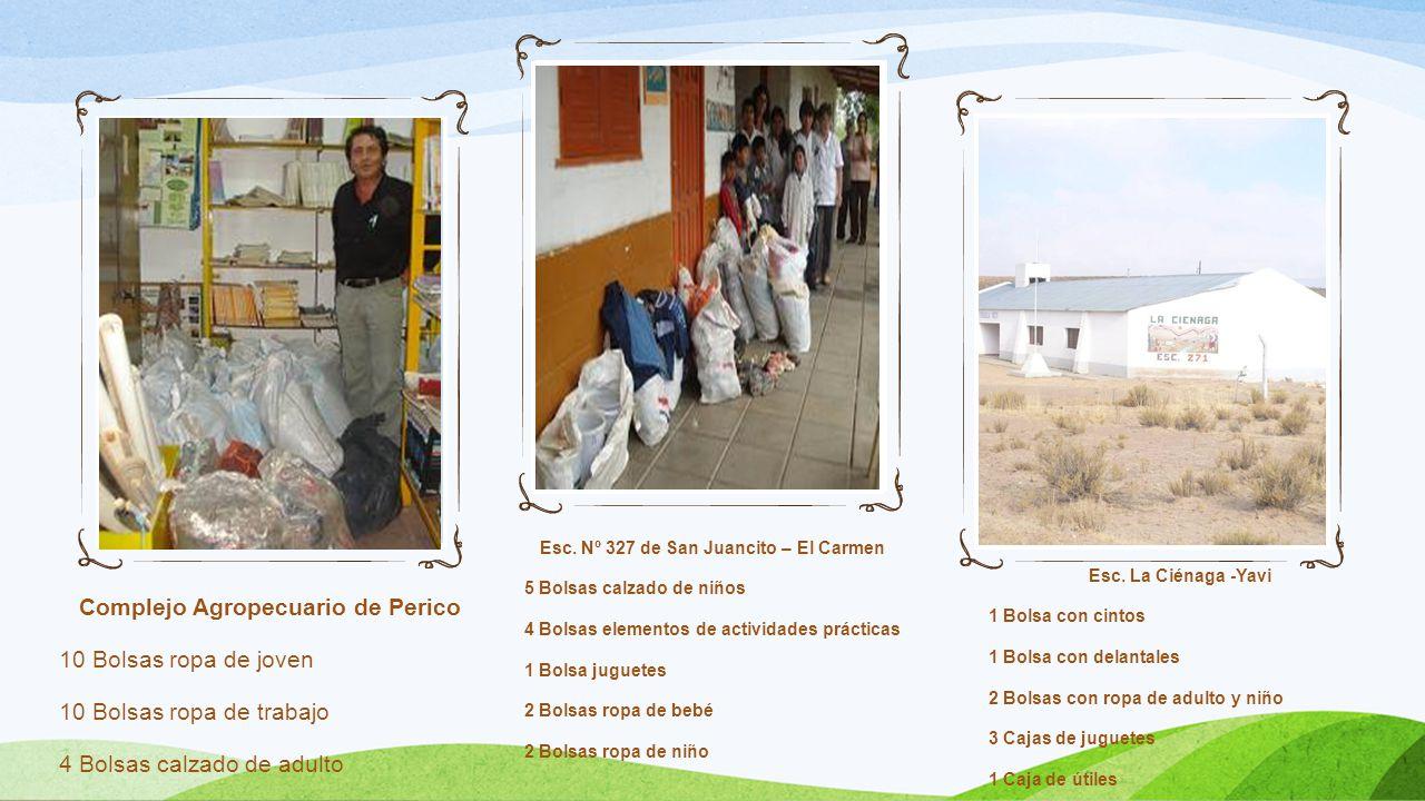 Complejo Agropecuario de Perico 10 Bolsas ropa de joven 10 Bolsas ropa de trabajo 4 Bolsas calzado de adulto Esc. Nº 327 de San Juancito – El Carmen 5