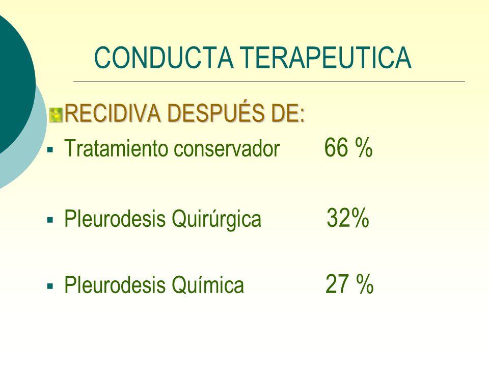 CONDUCTA TERAPEUTICA RECIDIVA DESPUÉS DE: Tratamiento conservador 66 % Pleurodesis Quirúrgica 32% Pleurodesis Química 27 %