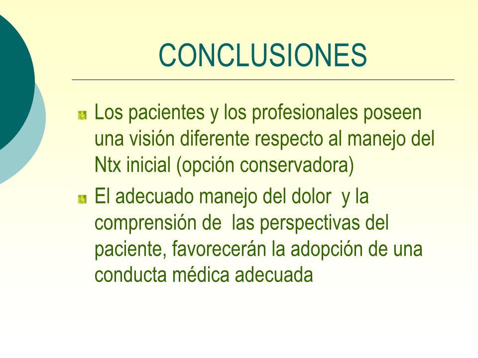 CONCLUSIONES Los pacientes y los profesionales poseen una visión diferente respecto al manejo del Ntx inicial (opción conservadora) El adecuado manejo