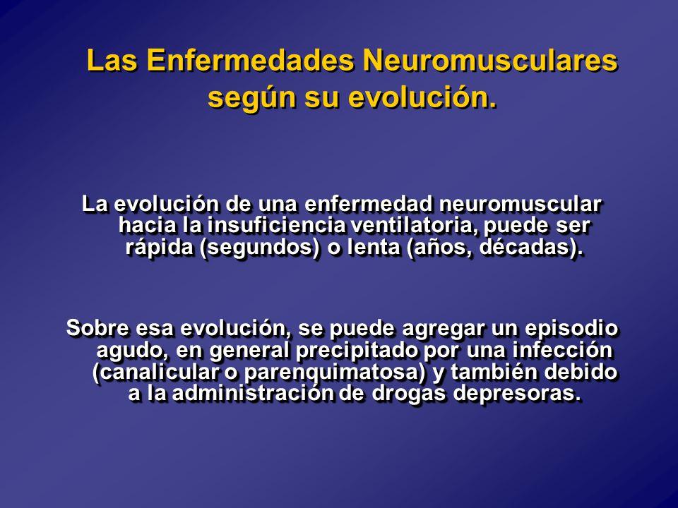 La evolución de una enfermedad neuromuscular hacia la insuficiencia ventilatoria, puede ser rápida (segundos) o lenta (años, décadas).