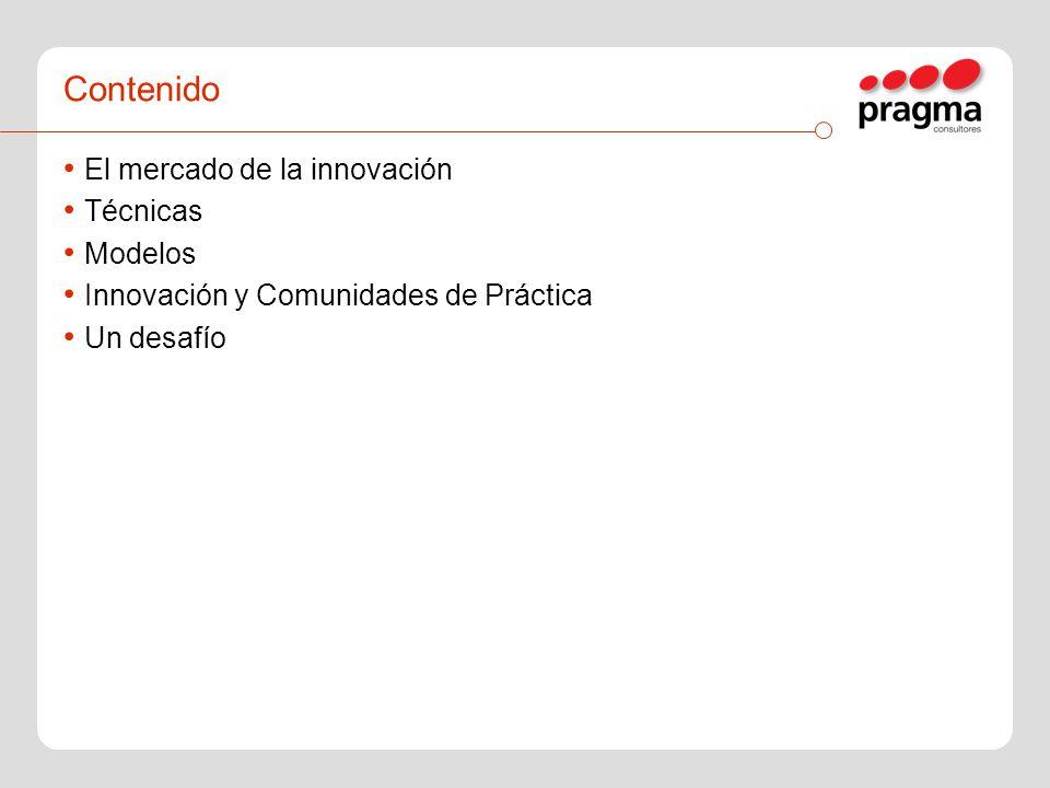 Contenido El mercado de la innovación Técnicas Modelos Innovación y Comunidades de Práctica Un desafío