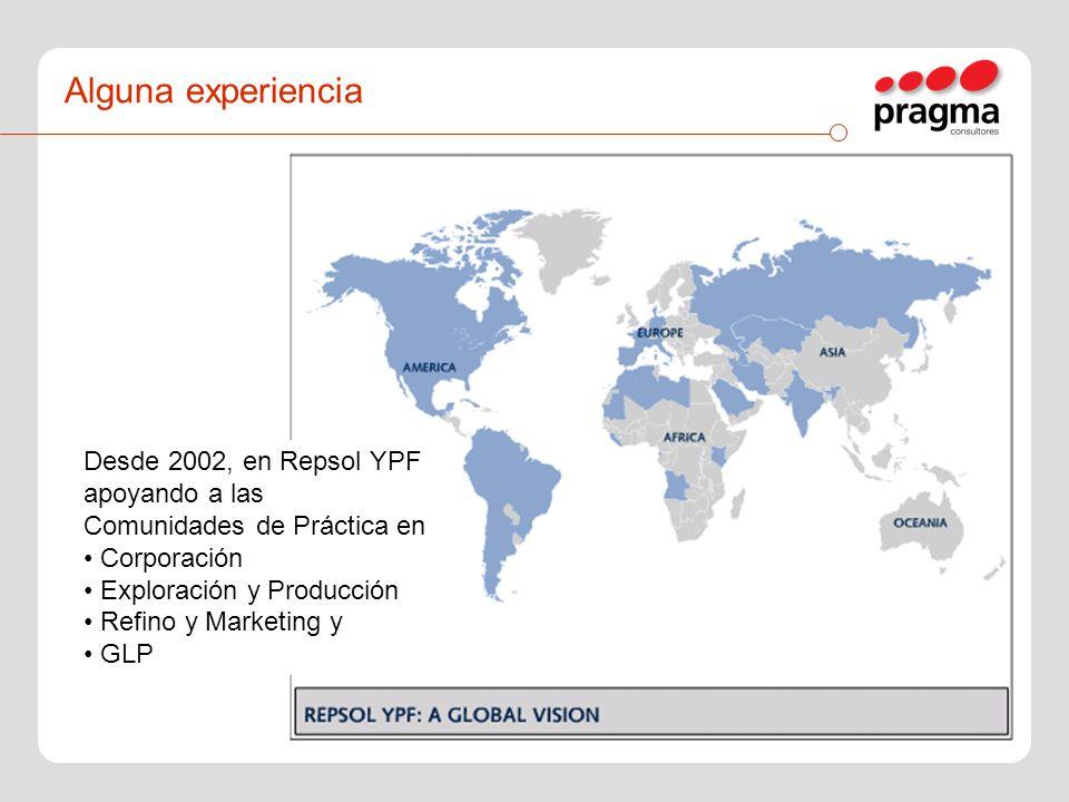 Alguna experiencia Desde 2002, en Repsol YPF apoyando a las Comunidades de Práctica en Corporación Exploración y Producción Refino y Marketing y GLP