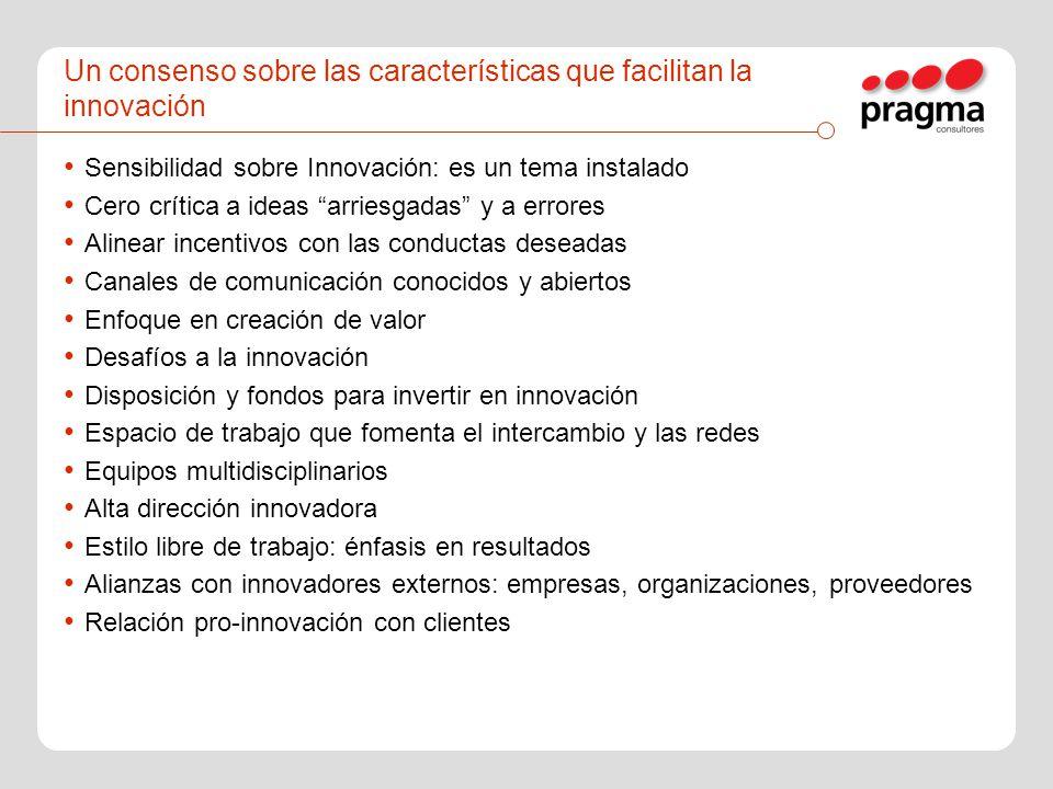 Un consenso sobre las características que facilitan la innovación Sensibilidad sobre Innovación: es un tema instalado Cero crítica a ideas arriesgadas