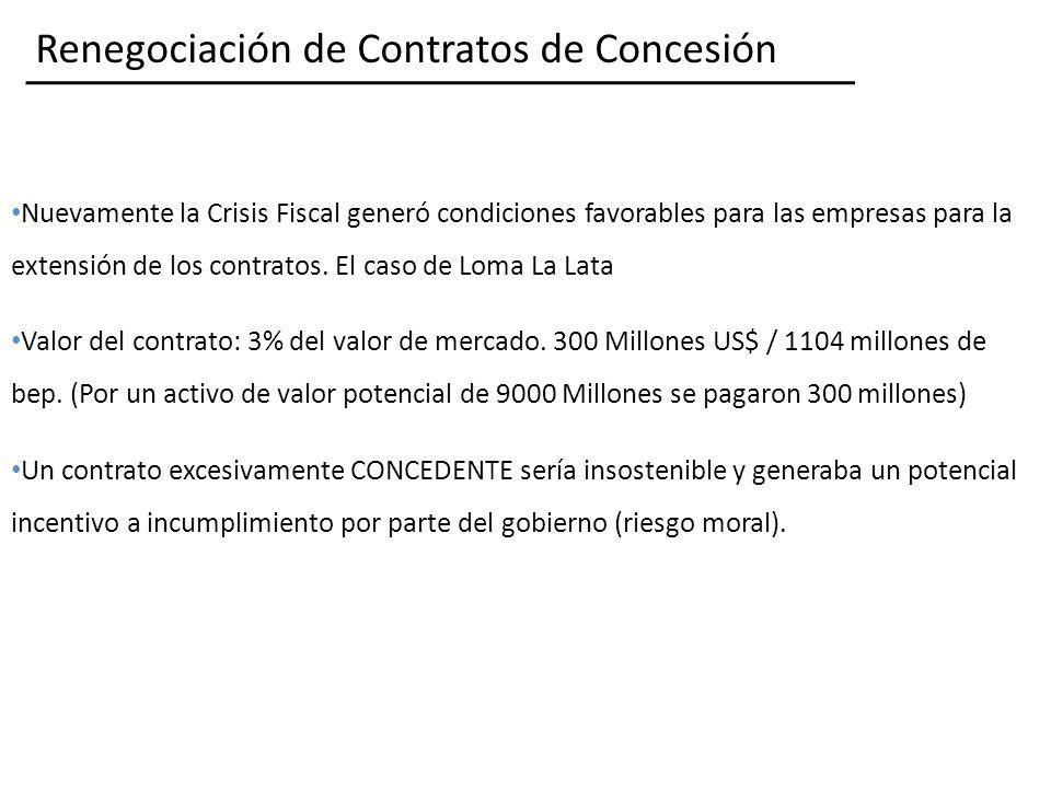 Renegociación de Contratos de Concesión Nuevamente la Crisis Fiscal generó condiciones favorables para las empresas para la extensión de los contratos.
