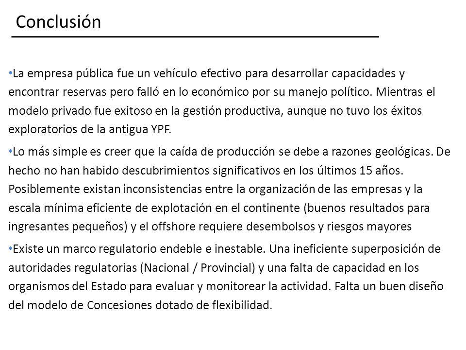 Conclusión La empresa pública fue un vehículo efectivo para desarrollar capacidades y encontrar reservas pero falló en lo económico por su manejo político.
