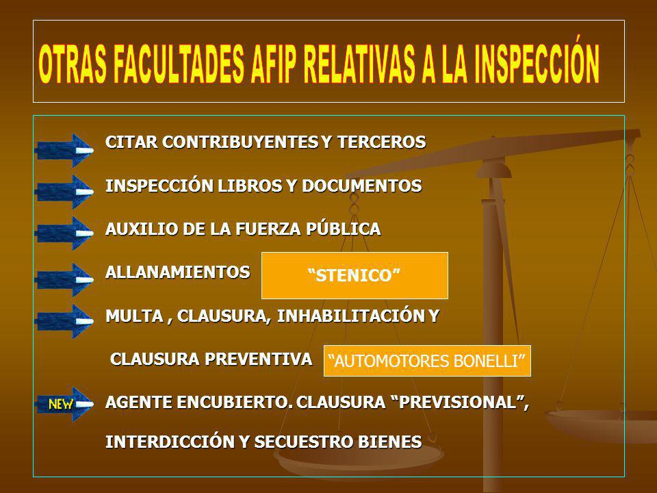 CITAR CONTRIBUYENTES Y TERCEROS INSPECCIÓN LIBROS Y DOCUMENTOS AUXILIO DE LA FUERZA PÚBLICA ALLANAMIENTOS MULTA, CLAUSURA, INHABILITACIÓN Y CLAUSURA P
