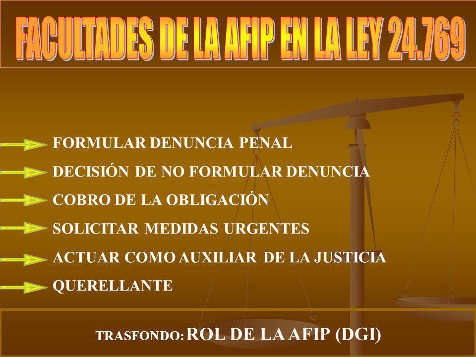 FORMULAR DENUNCIA PENAL DECISIÓN DE NO FORMULAR DENUNCIA COBRO DE LA OBLIGACIÓN SOLICITAR MEDIDAS URGENTES ACTUAR COMO AUXILIAR DE LA JUSTICIA QUERELL