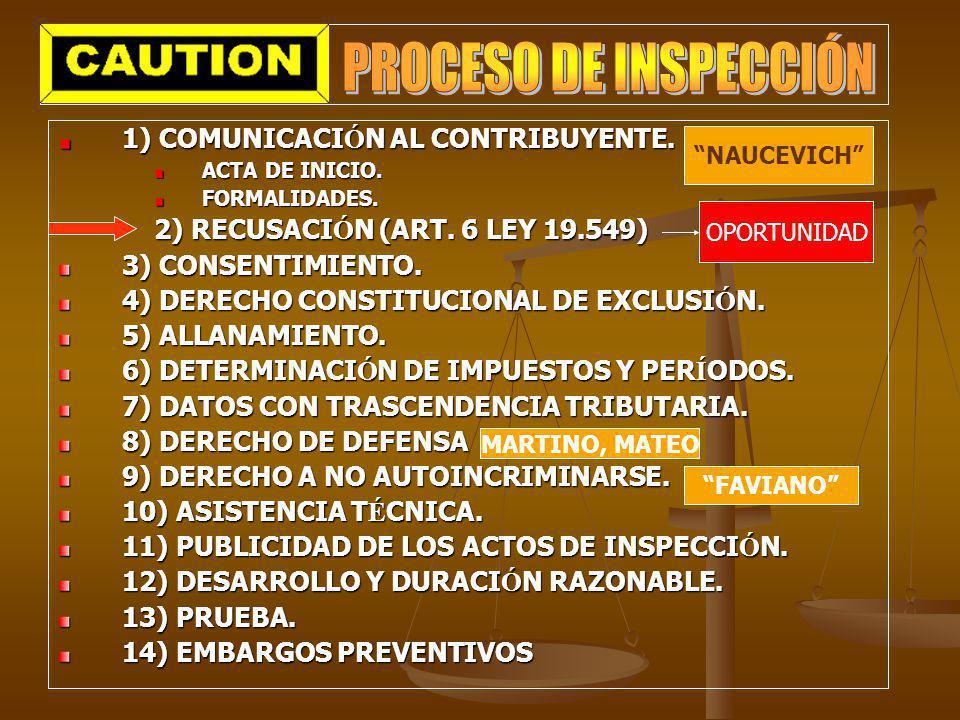 1) COMUNICACI Ó N AL CONTRIBUYENTE. ACTA DE INICIO. FORMALIDADES. 2) RECUSACI Ó N (ART. 6 LEY 19.549) 3) CONSENTIMIENTO. 4) DERECHO CONSTITUCIONAL DE