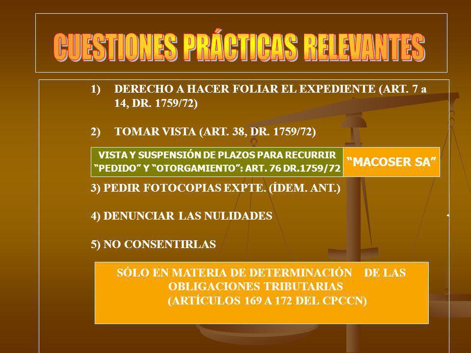 1)DERECHO A HACER FOLIAR EL EXPEDIENTE (ART. 7 a 14, DR. 1759/72) 2)TOMAR VISTA (ART. 38, DR. 1759/72) 3) PEDIR FOTOCOPIAS EXPTE. (ÍDEM. ANT.) 4) DENU