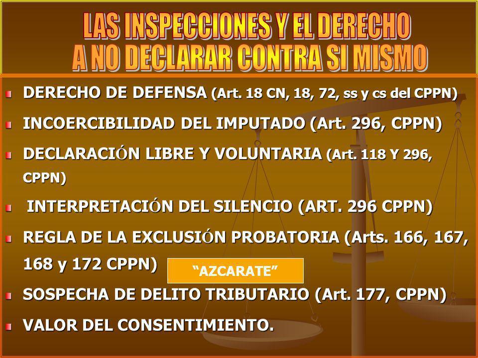 DERECHO DE DEFENSA (Art. 18 CN, 18, 72, ss y cs del CPPN) DERECHO DE DEFENSA (Art. 18 CN, 18, 72, ss y cs del CPPN) INCOERCIBILIDAD DEL IMPUTADO (Art.