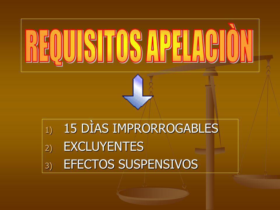 1) 15 DÌAS IMPRORROGABLES 2) EXCLUYENTES 3) EFECTOS SUSPENSIVOS