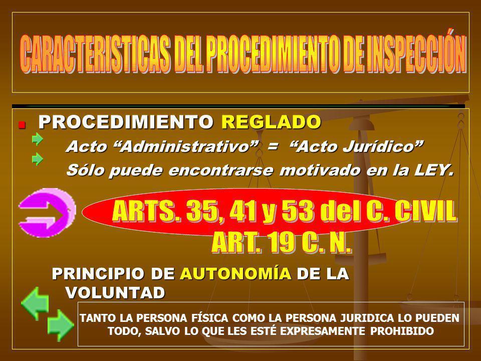 PROCEDIMIENTO REGLADO PROCEDIMIENTO REGLADO Acto Administrativo = Acto Jurídico Sólo puede encontrarse motivado en la LEY. PRINCIPIO DE AUTONOMÍA DE L