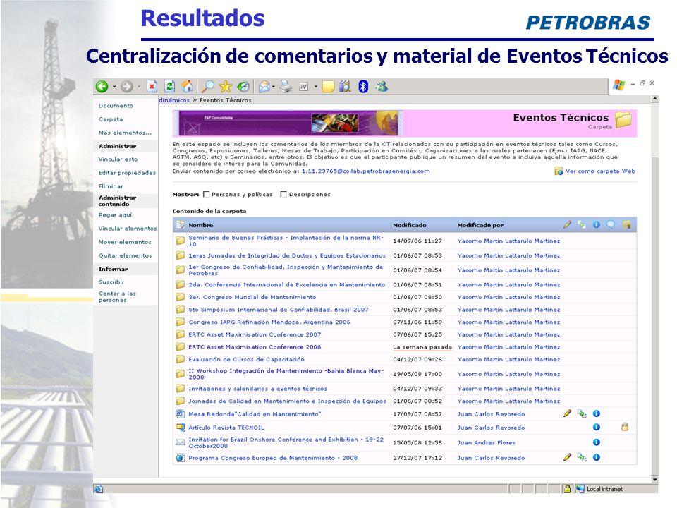 Centralización de comentarios y material de Eventos Técnicos Resultados