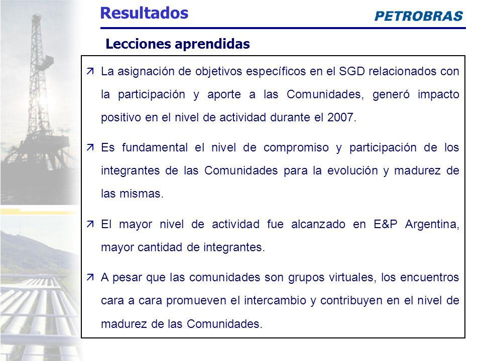 La asignación de objetivos específicos en el SGD relacionados con la participación y aporte a las Comunidades, generó impacto positivo en el nivel de actividad durante el 2007.