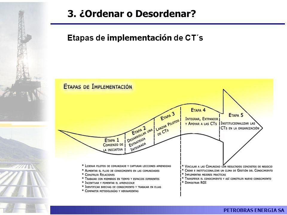 PETROBRAS ENERGIA SA Etapas de implementación de CT´s 3. ¿Ordenar o Desordenar?