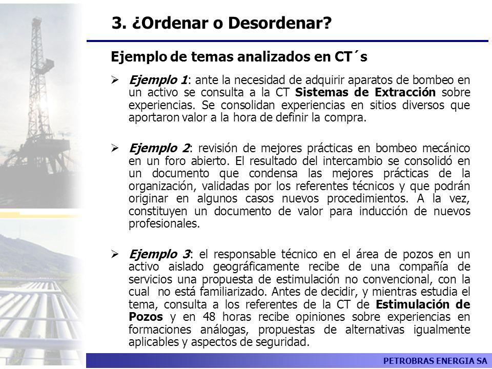 PETROBRAS ENERGIA SA Ejemplo 1: ante la necesidad de adquirir aparatos de bombeo en un activo se consulta a la CT Sistemas de Extracción sobre experie