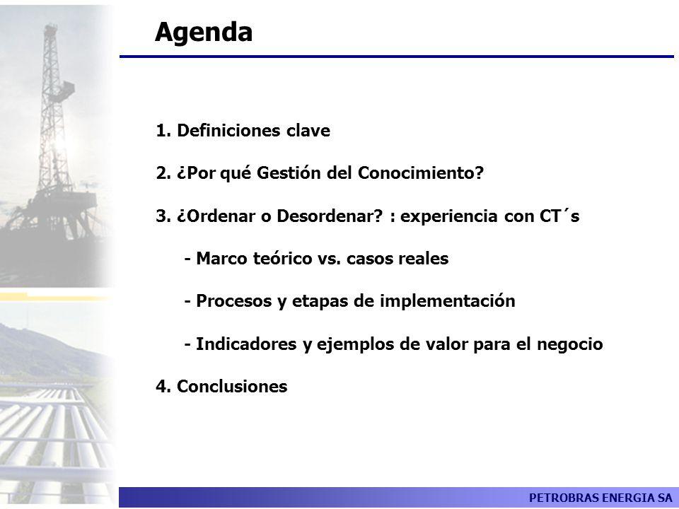 PETROBRAS ENERGIA SA Agenda 1. Definiciones clave 2. ¿Por qué Gestión del Conocimiento? 3. ¿Ordenar o Desordenar? : experiencia con CT´s - Marco teóri