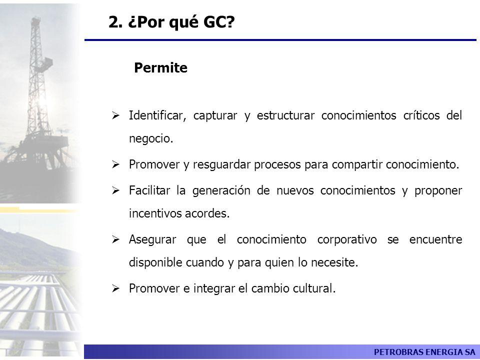 PETROBRAS ENERGIA SA GC Permite Identificar, capturar y estructurar conocimientos críticos del negocio. Promover y resguardar procesos para compartir