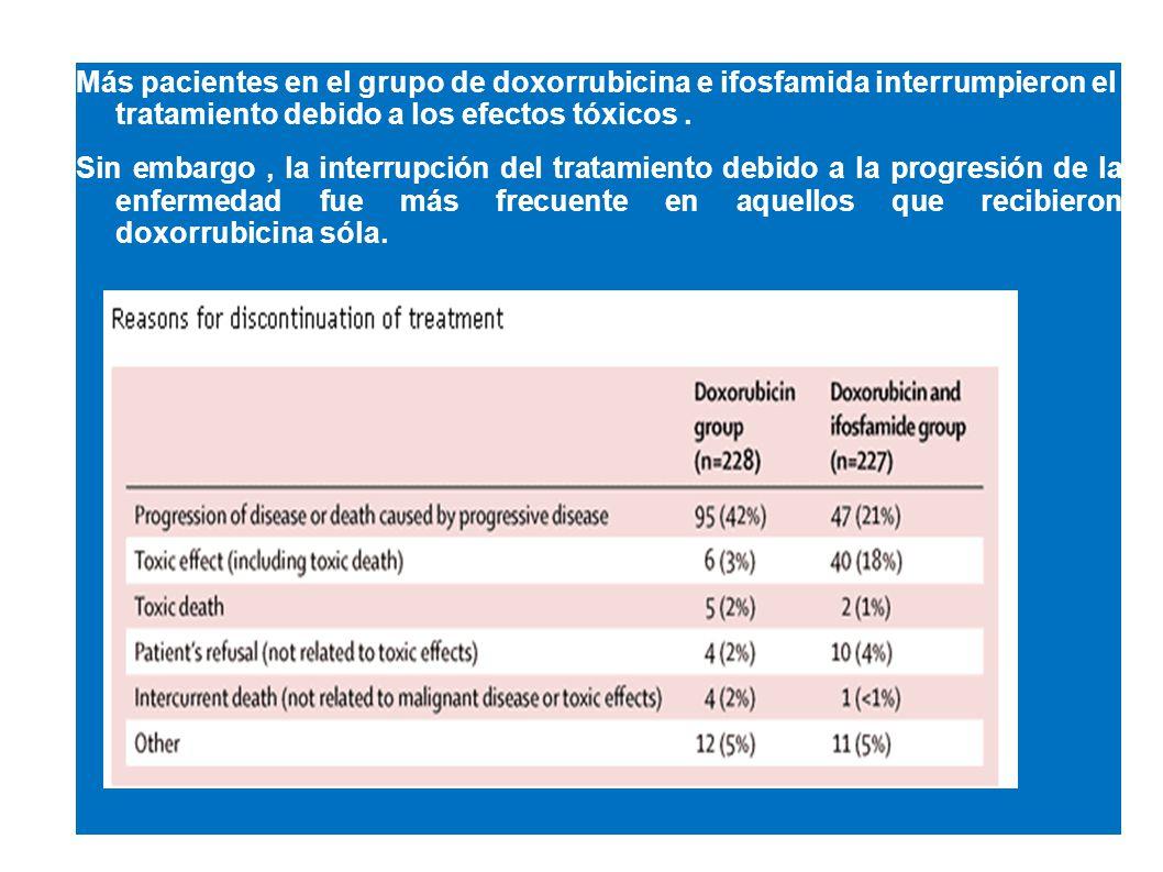 Más pacientes en el grupo de doxorrubicina e ifosfamida interrumpieron el tratamiento debido a los efectos tóxicos. Sin embargo, la interrupción del t