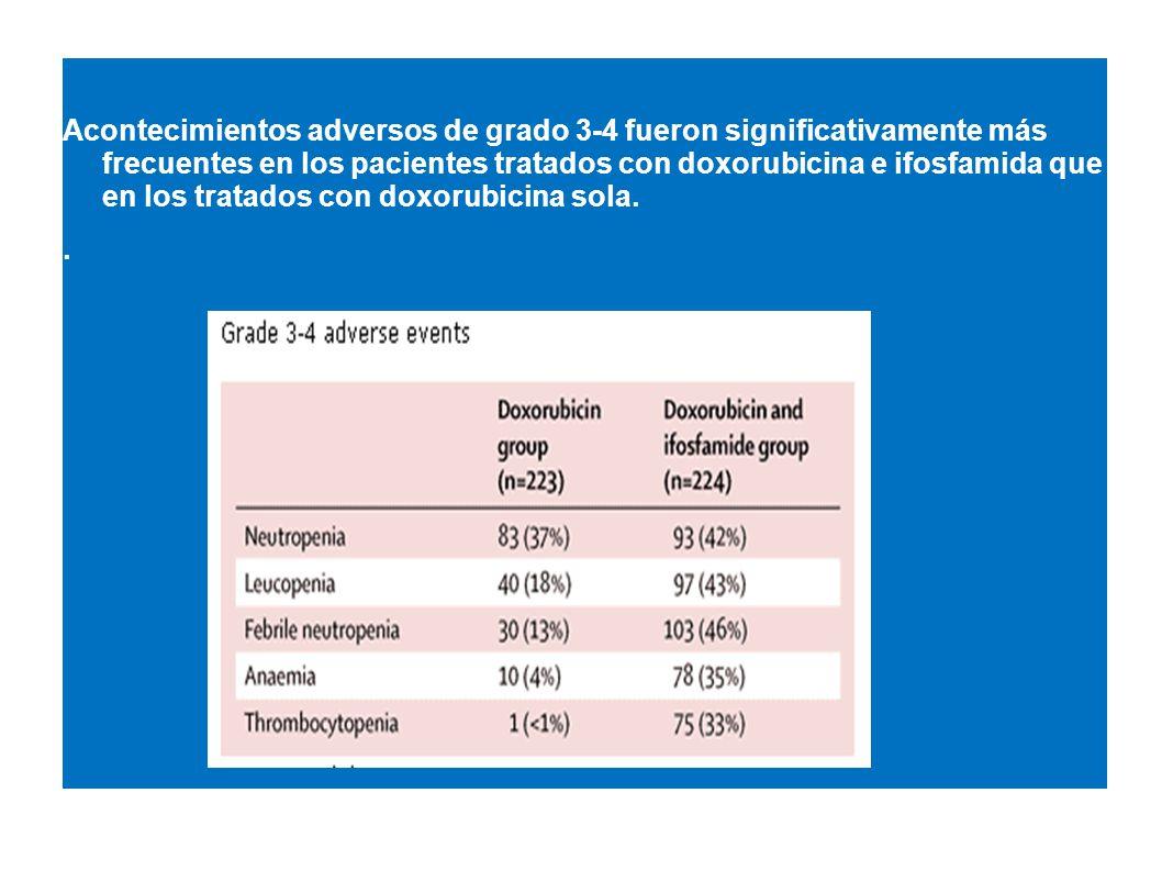 Acontecimientos adversos de grado 3-4 fueron significativamente más frecuentes en los pacientes tratados con doxorubicina e ifosfamida que en los trat
