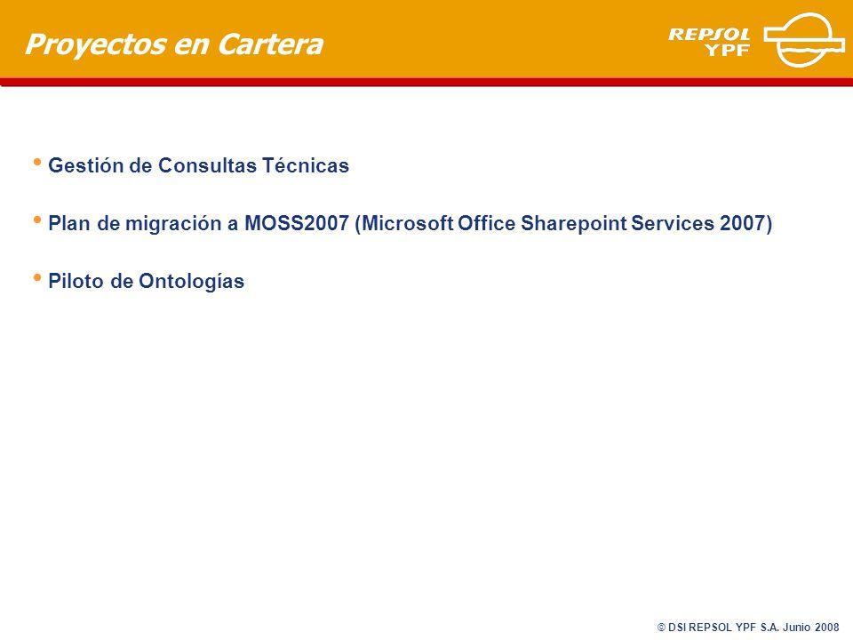 Proyectos en Cartera Gestión de Consultas Técnicas Plan de migración a MOSS2007 (Microsoft Office Sharepoint Services 2007) Piloto de Ontologías © DSI REPSOL YPF S.A.