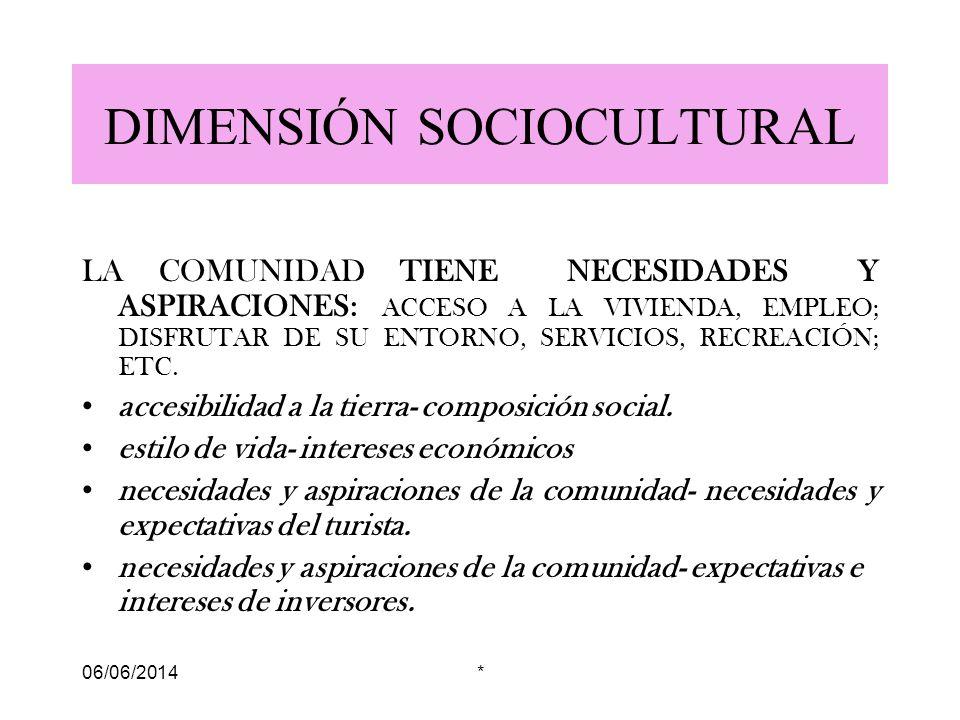06/06/2014* DIMENSIÓN SOCIOCULTURAL LA COMUNIDAD TIENE NECESIDADES Y ASPIRACIONES: ACCESO A LA VIVIENDA, EMPLEO; DISFRUTAR DE SU ENTORNO, SERVICIOS, RECREACIÓN; ETC.