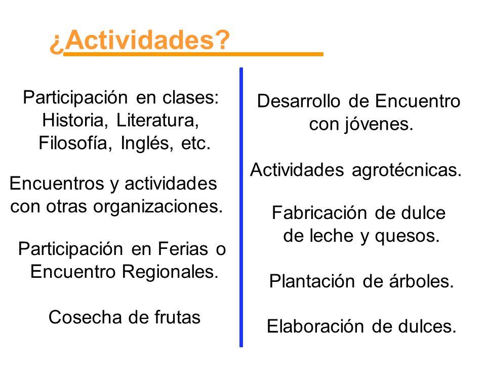 ¿Actividades? Participación en clases: Historia, Literatura, Filosofía, Inglés, etc. Encuentros y actividades con otras organizaciones. Actividades ag