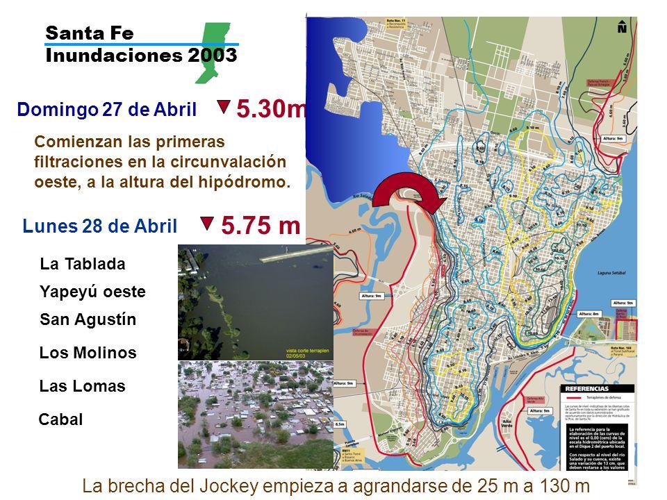 Santa Fe Inundaciones 2003 Domingo 27 de Abril 5.30m Comienzan las primeras filtraciones en la circunvalación oeste, a la altura del hipódromo.