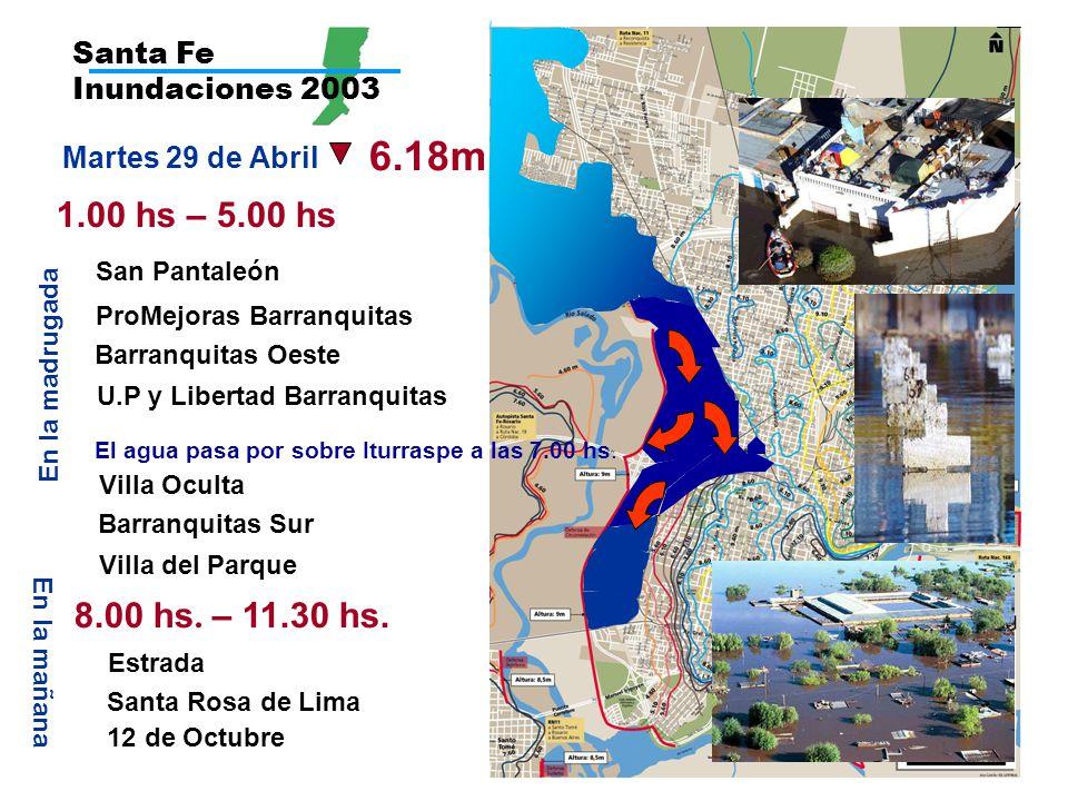 Santa Fe Inundaciones 2003 6.18m 1.00 hs – 5.00 hs San Pantaleón ProMejoras Barranquitas Barranquitas Oeste Barranquitas Sur Martes 29 de Abril En la madrugada U.P y Libertad Barranquitas En la mañana 8.00 hs.