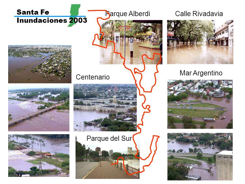 Santa Fe Inundaciones 2003 Parque AlberdiCalle Rivadavia Mar Argentino Parque del Sur Centenario
